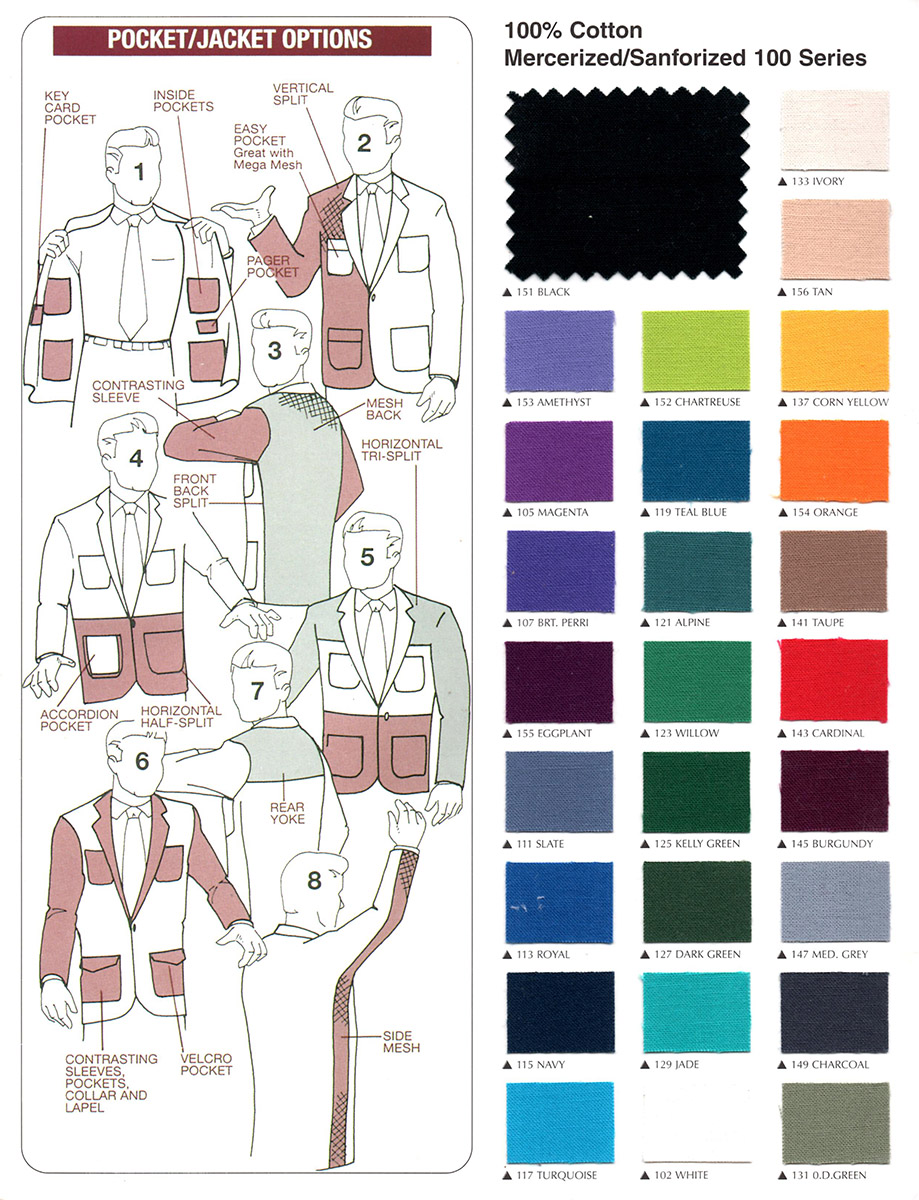 Trading Jacket Options and Fabric Swatches